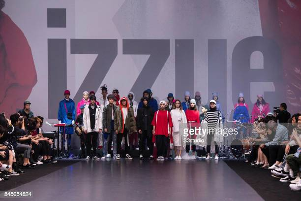 A model showcases designs by izzue during the FALL/WINTER 2017 FASHION SHOW at Hong Kong Convention and Exhibition Center on September 08 2017 in...