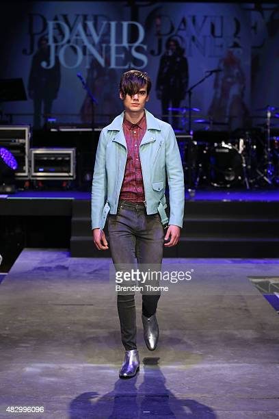 A model showcases designs by Jack London on the runway at the David Jones Spring/Summer 2015 Fashion Launch at David Jones Elizabeth Street Store on...
