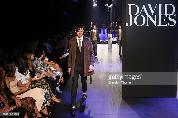 A model showcases designs by Jack London on the runway at the David Jones Autumn/Winter 2016 Fashion Launch at David Jones Elizabeth Street Store on...