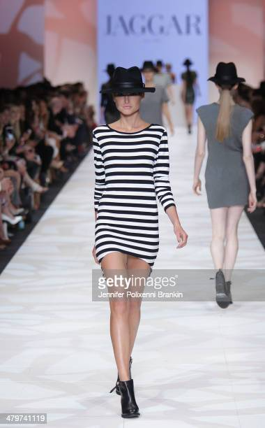 A model showcases designs by Jaggar on the runway during the Premium Runway 5 Presented by Cosmopolitan show at Melbourne Fashion Festival on March...