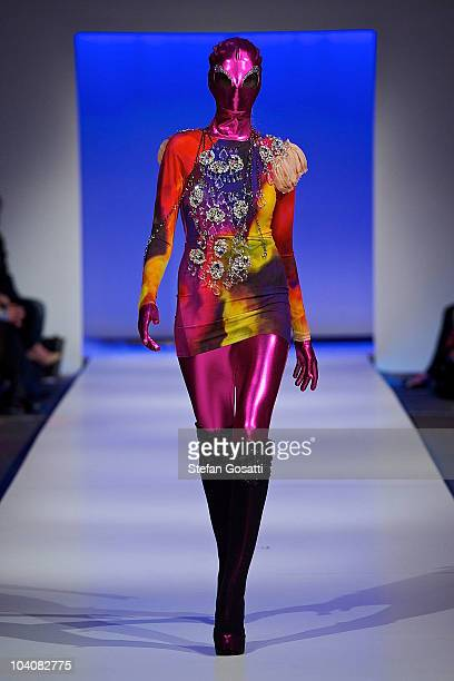Model showcases designs by Jamie Lee during the Up! The Final collection catwalk show as part of Perth Fashion Week 2010 at Fashion Paramount on...