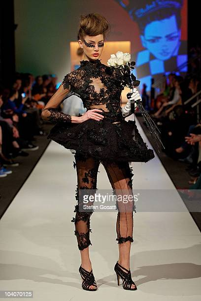 Model showcases designs by Jamiee Millar during the Student Runway show as part of Perth Fashion Week 2010 at Fashion Paramount on September 13, 2010...