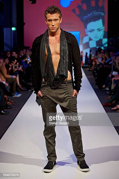 Model showcases designs by Jaxon Reibel during the Student Runway show as part of Perth Fashion Week 2010 at Fashion Paramount on September 13, 2010...