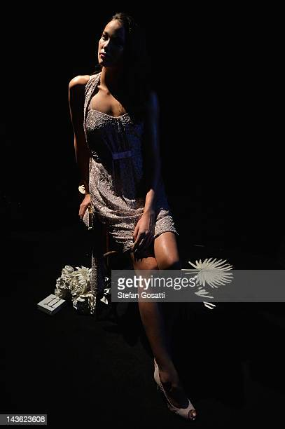 Model showcases designs by Jayson Brunsdon on the catwalk on day two of Mercedes-Benz Fashion Week Australia Spring/Summer 2012/13 at Overseas...