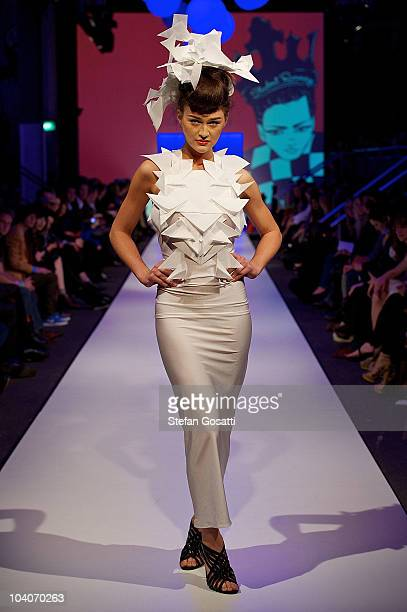 A model showcases designs by Jennifer Nebel during the Student Runway show as part of Perth Fashion Week 2010 at Fashion Paramount on September 13...