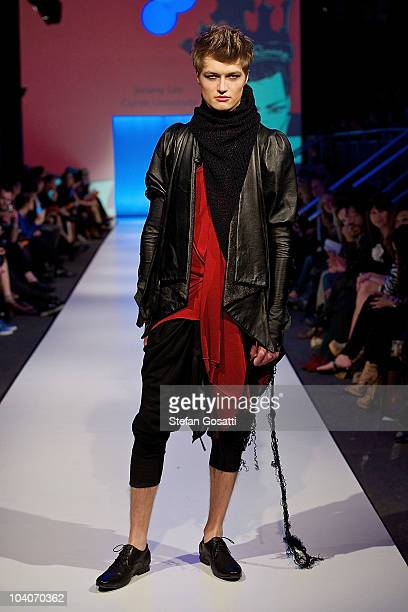 Model showcases designs by Jeromy Lim during the Student Runway show as part of Perth Fashion Week 2010 at Fashion Paramount on September 13, 2010 in...