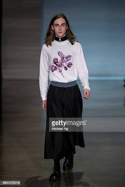 A model showcases designs by Jimmy D on the runway during 2016 New Zealand Fashion Week on August 23 2016 in Auckland New Zealand