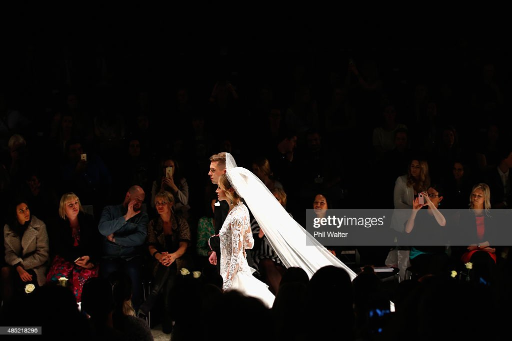 A model showcases designs by John Zimmermann during the New Zealand Weddings Magazine Collection show at New Zealand Fashion Week 2015 on August 26, 2015 in Auckland, New Zealand.