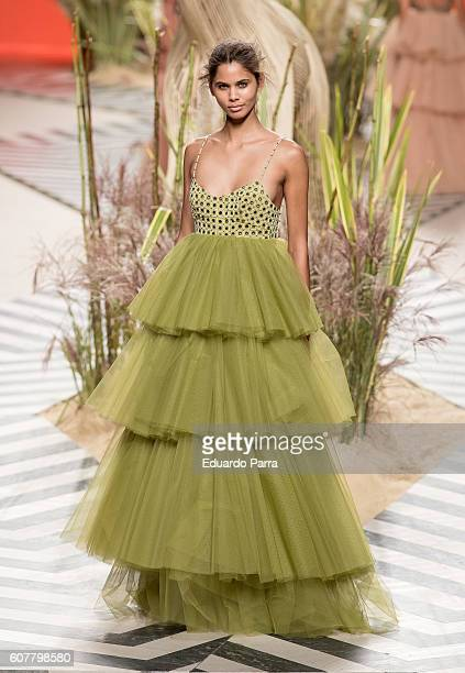 A model showcases designs by Jorge Vazquez on the runway at the Jorge Vazquez show during MercedesBenz Fashion Week Madrid Spring/Summer 2017 at...