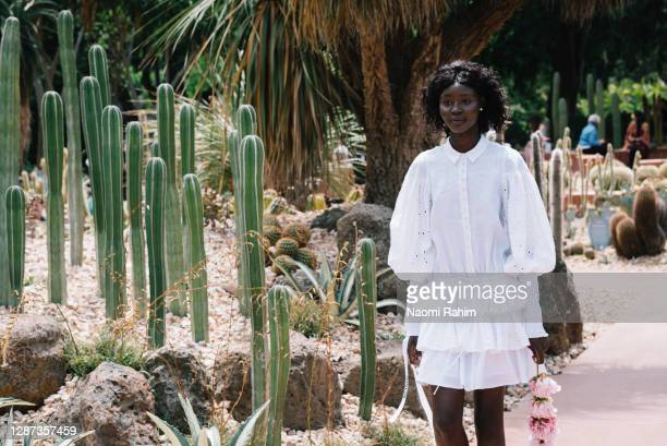 Model showcases designs by Joselin during the Arid Garden Runway as part of Melbourne Fashion Week on November 24, 2020 in Melbourne, Australia.