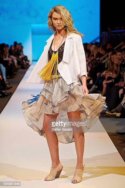 Model showcases designs by Joveeba during the Up! The Final collection catwalk show as part of Perth Fashion Week 2010 at Fashion Paramount on...