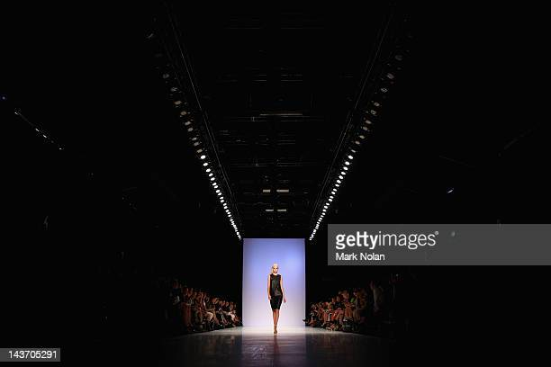 Model showcases designs by Kahlo on the catwalk during the New Generation 1 group show on day four of Mercedes-Benz Fashion Week Australia...
