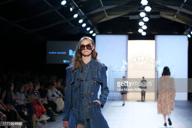 Model showcases designs by Karen Walker and Dr Martens during the Fashion In The Heart Of The City show at New Zealand Fashion Weekend 2019 on...