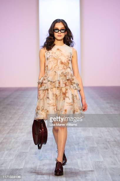 Model showcases designs by Karen Walker during the Fashion Quarterly & Miss FQ Present: The Edit show during New Zealand Fashion Weekend 2019 on...