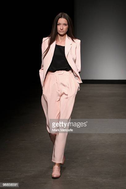 A model showcases designs by Karla Spetic on the catwalk on the third day of Rosemount Australian Fashion Week Spring/Summer 2010/11 at the Overseas...