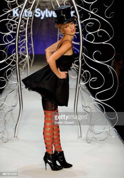 Model showcases designs by Kate Sylvester at the Diet Coca-Cola Little Black Dress Show on the catwalk at the Overseas Passenger Terminal, Circular...