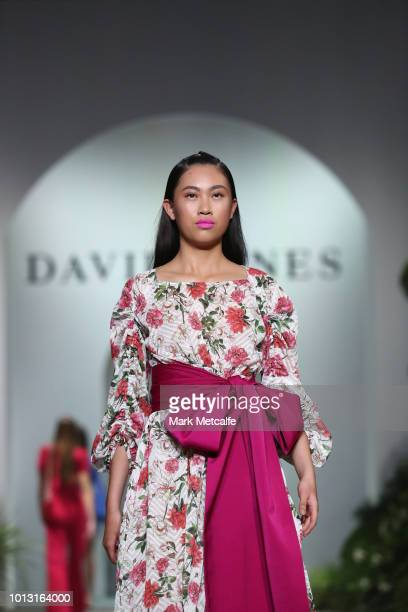 A model showcases designs by Kate Sylvester during the David Jones Spring Summer 18 Collections Launch at Fox Studios on August 8 2018 in Sydney...