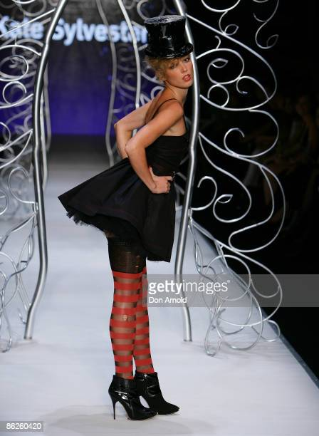 Model showcases designs by Kate Sylvester during the Little Black Dress show on the catwalk at the Overseas Passenger Terminal, Circular Quay on day...