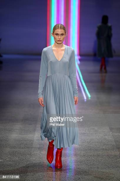 A model showcases designs by Kate Sylvester on the runway at New Zealand Fashion Week 2017 on August 31 2017 in Auckland New Zealand