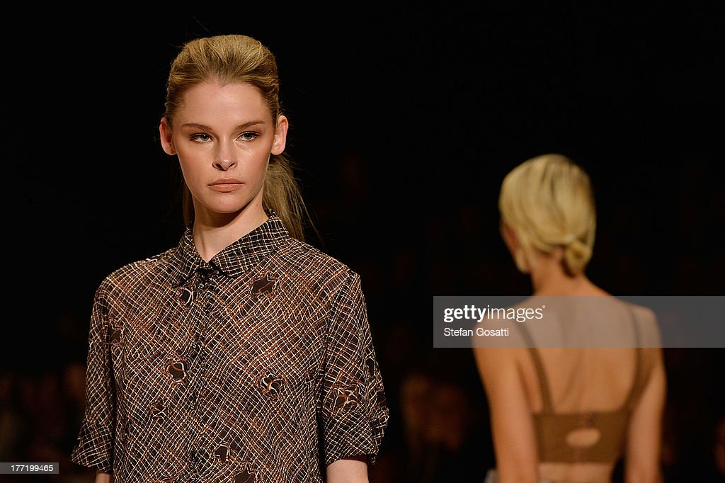 A model showcases designs by Kate Sylvester on the runway at the MBFWA Trends show during Mercedes-Benz Fashion Festival Sydney 2013 at Sydney Town Hall on August 22, 2013 in Sydney, Australia.