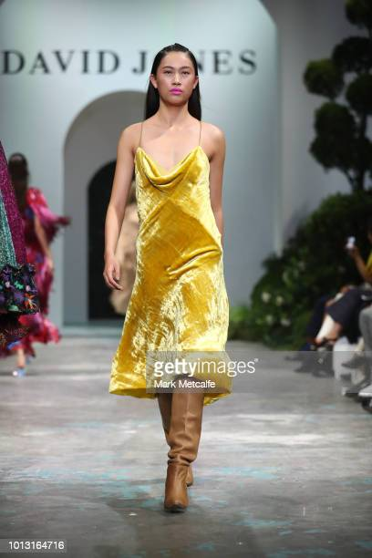 A model showcases designs by KitX during the David Jones Spring Summer 18 Collections Launch at Fox Studios on August 8 2018 in Sydney Australia