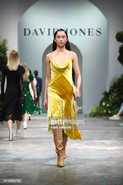 A model showcases designs by KitX during the media rehearsal ahead of the David Jones Spring Summer 18 Collections Launch at Fox Studios on August 8...