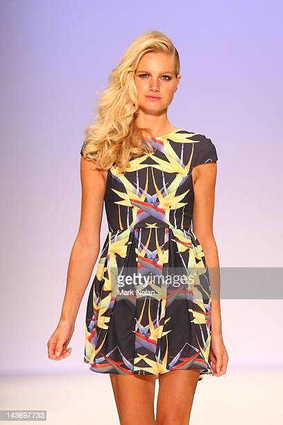 Model showcases designs by Kristi Rose on the catwalk during the New Generation 1 group show on day four of Mercedes-Benz Fashion Week Australia...