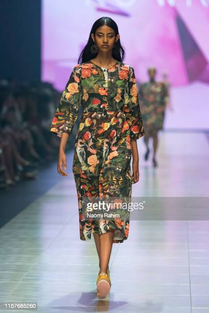 Model showcases designs by Kuwaii during Runway 6 at Melbourne Fashion Festival on March 9, 2019 in Melbourne, Australia.