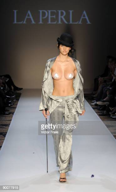 A model showcases designs by La Perla on the catwalk during the Mastercard Luxury Week Hong Kong 2009 at The Four Seasons Hotel on August 25 2009 in...
