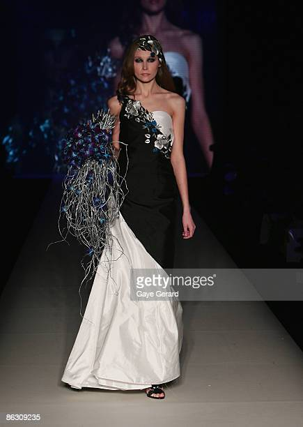 Model showcases designs by label By Weave at the New Generation V Australia catwalk show at the Overseas Passenger Terminal, Circular Quay on day...