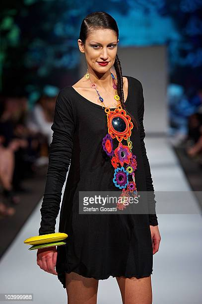 Model showcases designs by Leah Tarlo during the WA Designers Collection 2 catwalk show as part of Perth Fashion Week 2010 at Fashion Paramount on...