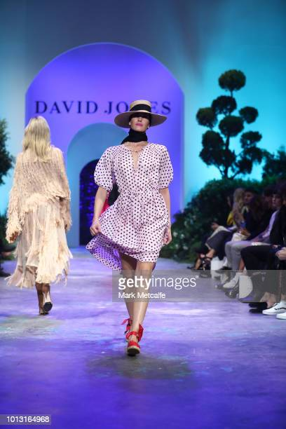 A model showcases designs by Lee Mathews during the David Jones Spring Summer 18 Collections Launch at Fox Studios on August 8 2018 in Sydney...