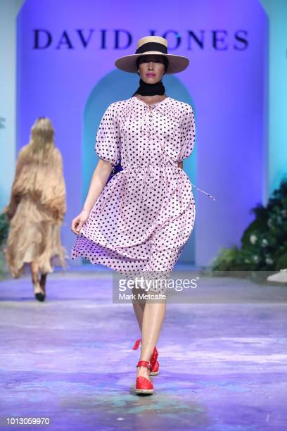 A model showcases designs by Lee Mathews during the media rehearsal ahead of the David Jones Spring Summer 18 Collections Launch at Fox Studios on...