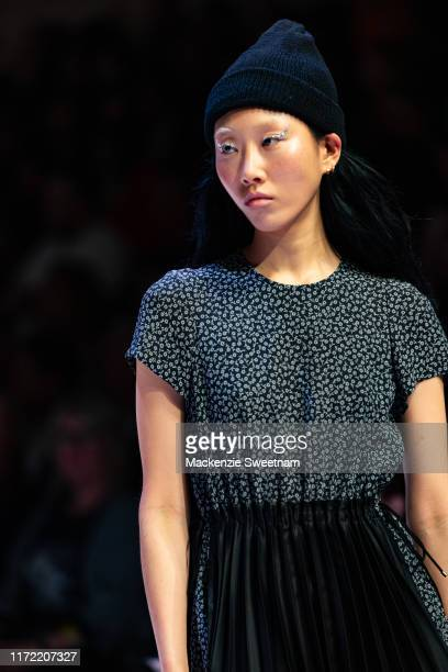 A model showcases designs by Left during Town Hall Runway 5 at Melbourne Town Hall at Melbourne City Baths on September 04 2019 in Melbourne Australia
