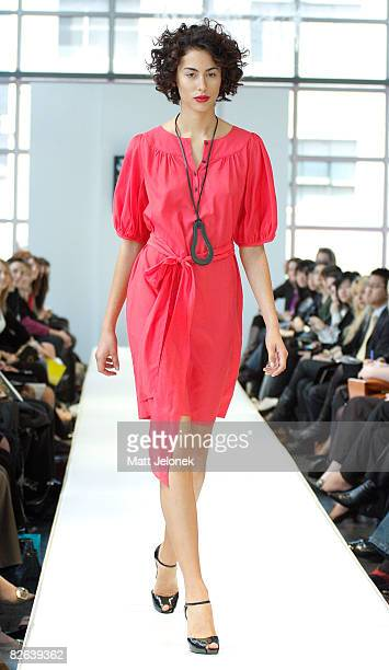 A model showcases designs by Lella Smith as part of the Melbourne's GPO Racing into Spring Fashion Parade catwalk show on the second day of Melbourne...