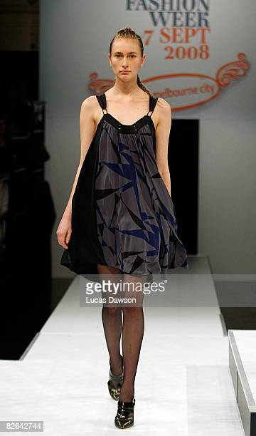 A model showcases designs by LIFEwithBIRD as part of the Out of The Shadows catwalk show on the second day of Melbourne Spring Fashion Week 2008 at...
