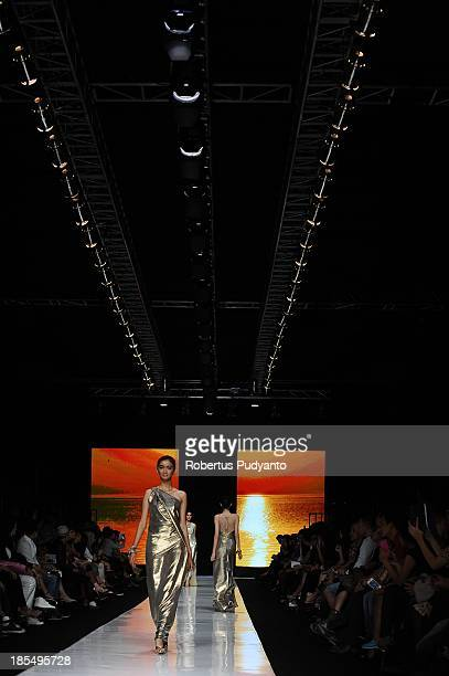 A model showcases designs by Liliana Lim on the runway at the Indonesian Fashion Designer Council show during Jakarta Fashion Week 2014 at Senayan...