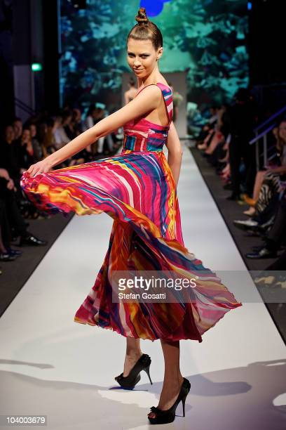 Model showcases designs by Liz Davenport during the WA Designers Collection 1 catwalk show as part of Perth Fashion Week 2010 at Fashion Paramount on...