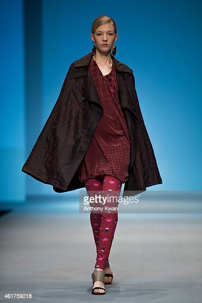 Model showcases designs by Loom Loop on the runway during the Brand Collections' Show on day 1 of Hong Kong Fashion Week Fall/Winter 2015 at the Hong...