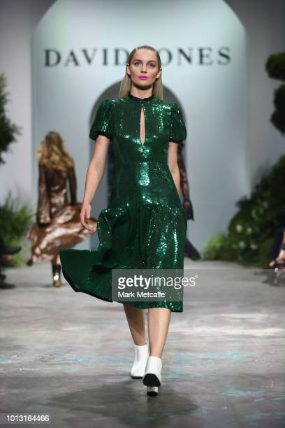 A model showcases designs by Macgraw during the David Jones Spring Summer 18 Collections Launch at Fox Studios on August 8 2018 in Sydney Australia
