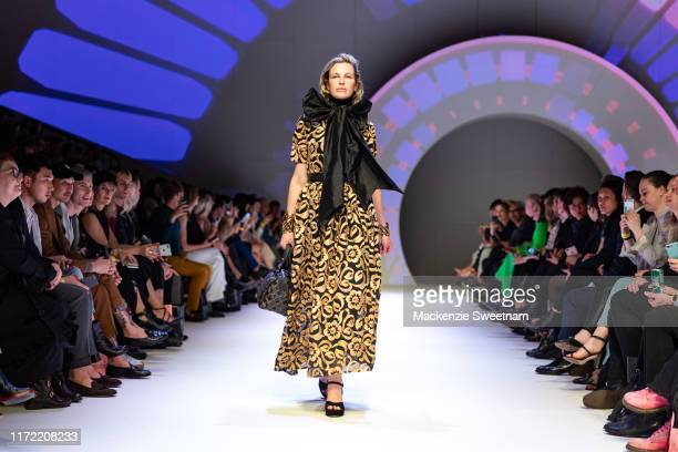 A model showcases designs by Madam Virtue Co during Town Hall Runway 5 at Melbourne Town Hall at Melbourne City Baths on September 04 2019 in...