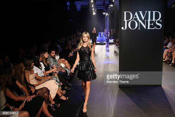 A model showcases designs by Maje on the runway at the David Jones Autumn/Winter 2016 Fashion Launch at David Jones Elizabeth Street Store on...