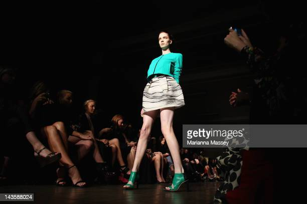 A model showcases designs by Manning Cartell on the catwalk on day one of MercedesBenz Fashion Week Australia Spring/Summer 2012/13 at The Church on...