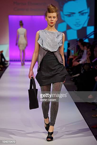 Model showcases designs by Marisa Ebsworth during the Student Runway show as part of Perth Fashion Week 2010 at Fashion Paramount on September 13,...