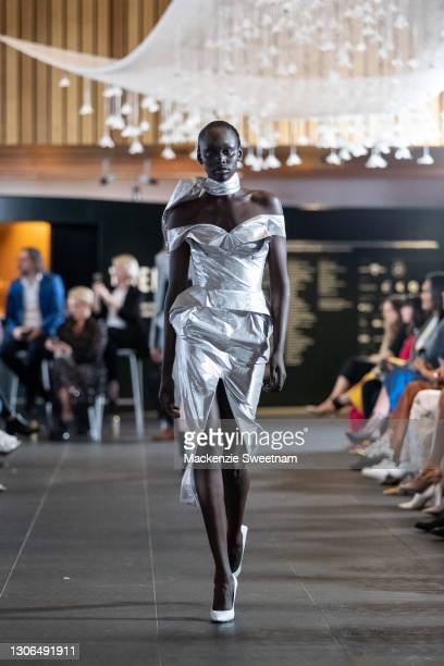 Model showcases designs by Maticevski during the Gala Runway at Melbourne Fashion Festival at National Gallery of Victoria on March 11, 2021 in...