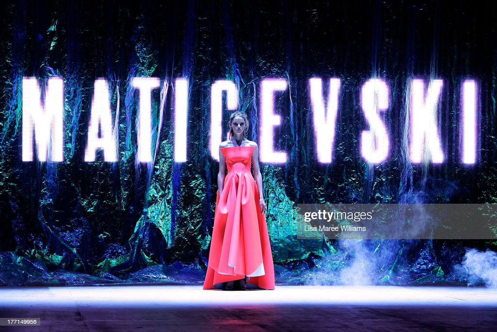 A model showcases designs by Maticevski on the runway at the MBFWA Trends show during Mercedes-Benz Fashion Festival Sydney 2013 at Sydney Town Hall on August 21, 2013 in Sydney, Australia.