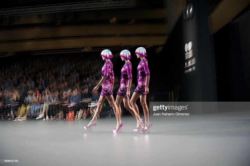 A model showcases designs by Maya Hansen on the runway at Maya Hansen show during Mercedes Benz Fashion Week Madrid Spring/Summer 2014 at Ifema on September 15, 2013 in Madrid, Spain.