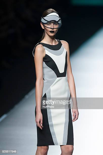 Model showcases designs by Maya Hansen on the runway at the Maya Hansen show during Mercedes-Benz Fashion Week Madrid Spring/Summer 2016 at Ifema on...