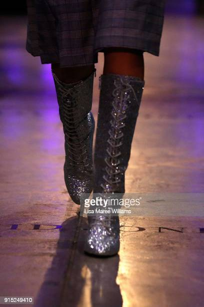 A model showcases designs by McGraw during the David Jones Autumn Winter 2018 Collections Launch at Australian Technology Park on February 7 2018 in...