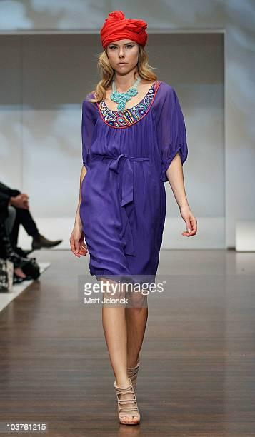 A model showcases designs by Megan Park during the Designer Series Show 2 catwalk show as part of Melbourne Spring Fashion Week at Town Hall on...